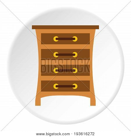 Chest of drawers icon in flat circle isolated vector illustration for web