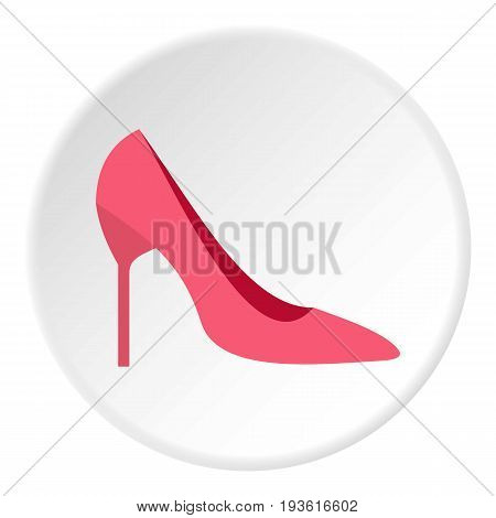 Womens shoe icon in flat circle isolated vector illustration for web