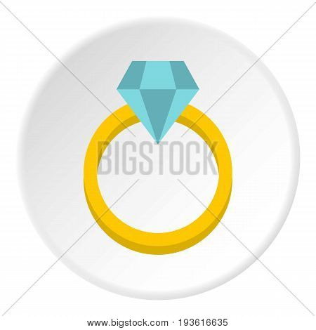 Womens wedding ring icon in flat circle isolated vector illustration for web