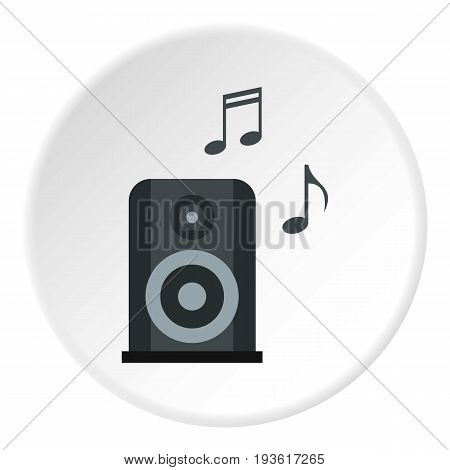 Portable music speacker icon in flat circle isolated vector illustration for web