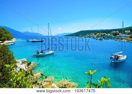 Motor boats in the seaport of Kefalonia in Lefkada island, Greece