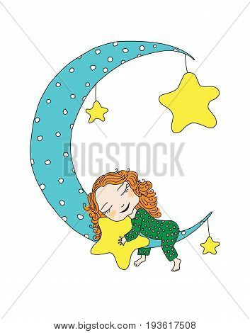 Good night. Cute girl sleep on a moon. sweet dream