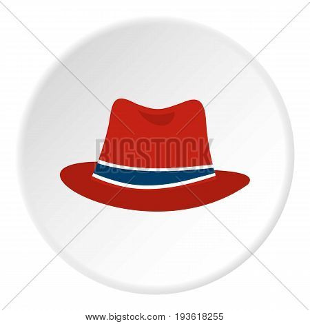 Hat icon in flat circle isolated vector illustration for web