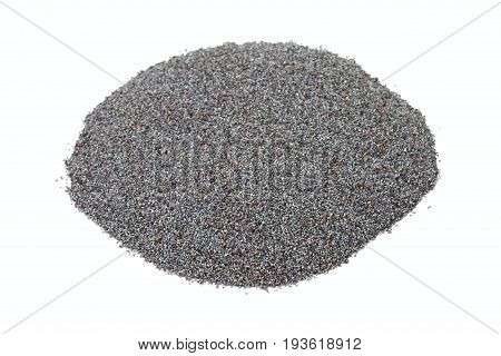 Organic dry poppy seeds on white background. Blue dry poppy seed in the pile.