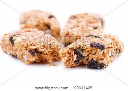 Granola bars (Cereal bar )on white background