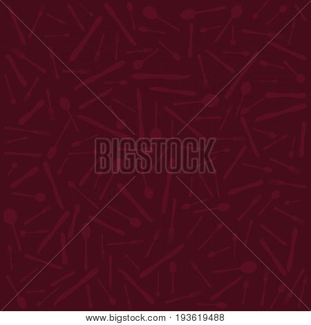 Silverware pattern. Spoons, knives, forks silhouettes. Deep red background, red objects. vector illustration.