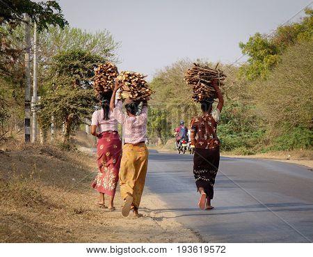 People Walking On Street In Bagan, Myanmar