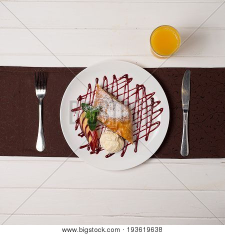 Strudel With Jam And Ice Cream Cold