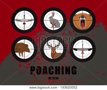 Hunter, hunting, game, hobby, sport. Poaching, crime. Wild animals and birds in the rifle sight. Template for a poster, banner, leaflets, covers, flyers. Vector illustration of EPS 10.