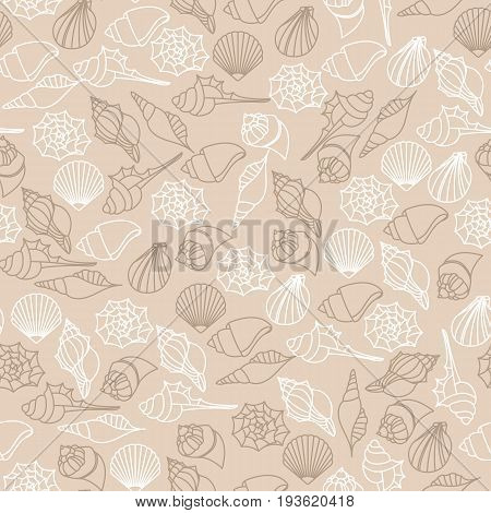 Vector brown line seamless pattern texture of seashells