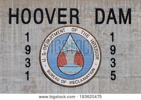NEVADAUSA - MAY 19 2017: Wall Sign At Hoover Dam Showing The Start And Completion Date Of Construction.