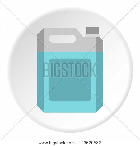 Flask for gasoline icon in flat circle isolated vector illustration for web