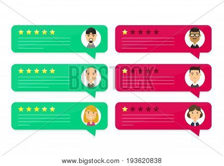 Review rating bubble speeches. Vector modern style cartoon character illustration avatar icon design. concept of decision grading system reviews stars rate and text feedback evaluation messages