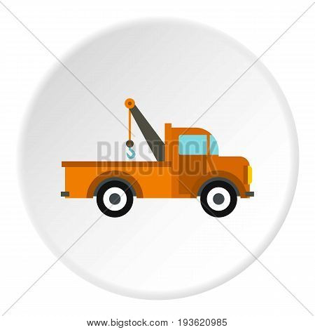 Car tow truck icon in flat circle isolated vector illustration for web