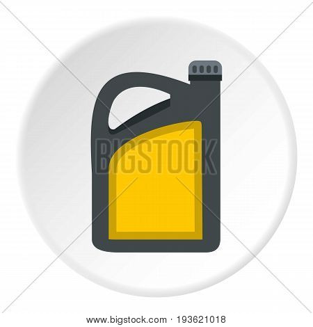 Plastic canister of gasoline icon in flat circle isolated vector illustration for web
