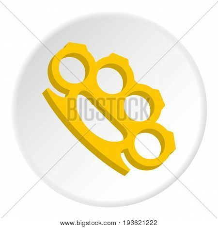 Yellow knuckles icon in flat circle isolated vector illustration for web