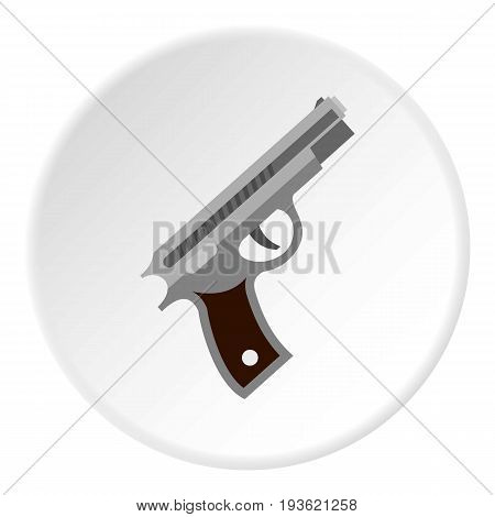 Pistol icon in flat circle isolated vector illustration for web