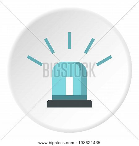 Blue police siren icon in flat circle isolated vector illustration for web