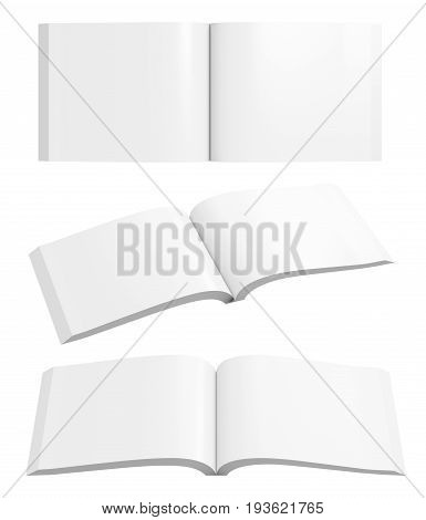 Set Of Blank Pages Of Open Horizontal Soft Cover Book