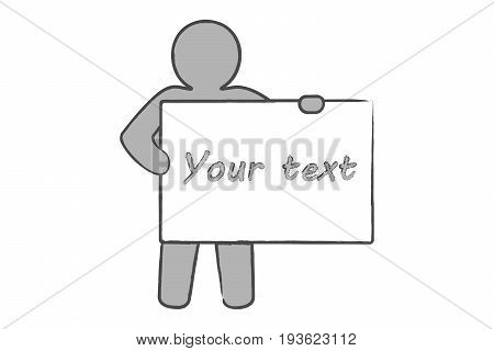 Cartoon man with a poster to paste the text. Simple vector illustration.