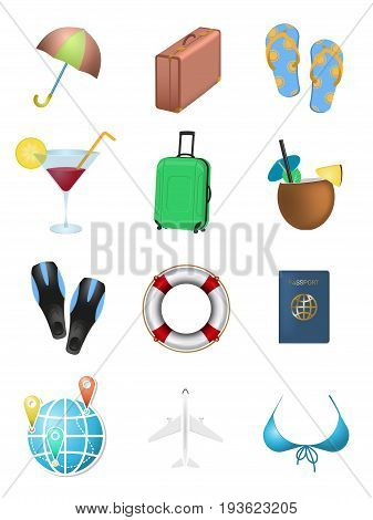 Summer vacation. Set of objects. Umbrella, flip flops, pina colada and cosmopolitan cocktail, lifebuoy, suitcases and other isolated on white background