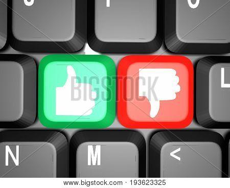 keyboard with like and dislike keys . 3d rendered illustgration