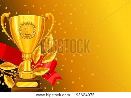 Realistic gold cup, laurel branch and ribbon. Background with place for text award for sports or corporate competitions.