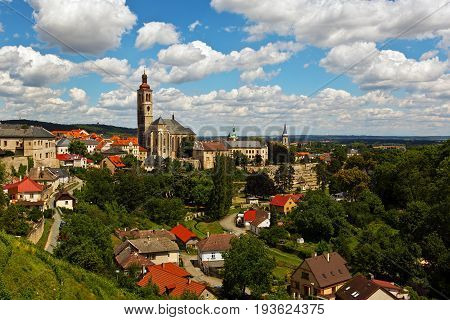 KUTNA HORA CZECH REPUBLIC - JULY 03 2016: Old town view with a cathedral bell tower