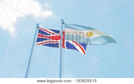 Great Britain and Argentina, two flags waving against blue sky. 3d image