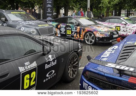 Riga, Latvia - July 01, 2017: cars from Gumball 3000 race Riga to Mykonos are on display. Riga host Gumball 3000 during the 2017 Rally being both the starting grid and flag drop destination.