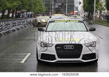 Riga, Latvia - July 01, 2017: Audi RS5 (2013) from Gumball 3000 race Riga to Mykonos is on display. Riga host Gumball 3000 during the 2017 Rally being both the starting grid and flag drop destination.