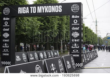 Riga, Latvia - July 01, 2017: Riga host Gumball 3000 race during the 2017 Rally being both the starting grid and flag drop destination.