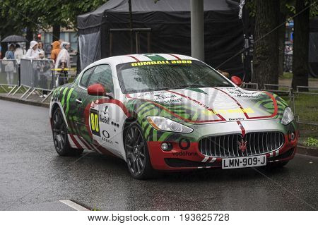Riga, Latvia - July 01, 2017: Maserati Granturismo from Gumball 3000 race Riga to Mykonos is on display. Riga host Gumball 3000 during the 2017 Rally being the starting grid destination.