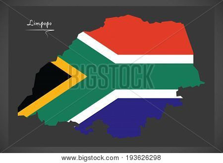 Limpopo South Africa Map With National Flag Illustration