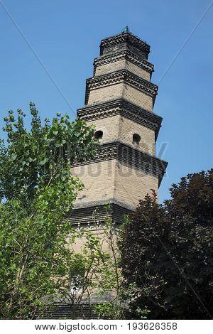 An ancient Buddhist pagoda in downtown Xian China