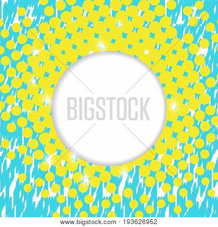 Template for a poster with a round zone for text on an abstract background. Material design in turquoise and yellow tone.