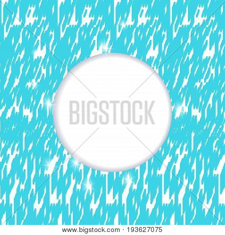Template for a poster with a round zone for text on an abstract background for advertising promotions and discounts. Material design in turquoise tone.