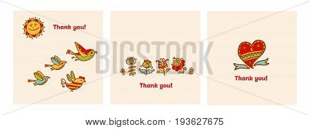 Thank you card vector illustration. Decorative naive flowers and birds motif for invitation, poster, background.