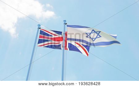Great Britain and Izrael, two flags waving against blue sky. 3d image