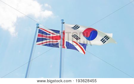 Great Britain and Republic of Korea, two flags waving against blue sky. 3d image