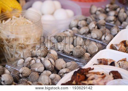 Tegillarca Granosa ,fresh Blood Cockles In Seafood Market