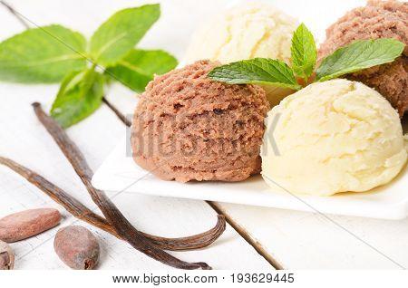 Cocoa and vanila ice cream scoop on white plate