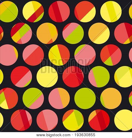 Polka dot motif modern concept vector illustration. Colorful round shape seamless pattern for wrapping paper, background, web and print projects.