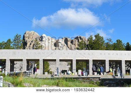 KEYSTONE, SOUTH DAKOTA - JUNE 23, 2017: Mount Rushmore National Memorial. Gutzon Borglums tribute to presidents George Washington, Thomas Jefferson, Theodore Roosevelt and Abraham Lincoln.