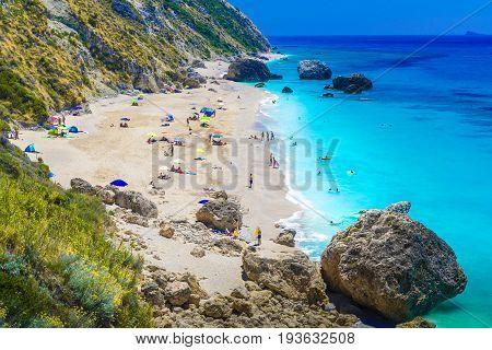 Megali Petra beach on the Ionian sea Lefkada island Greece.