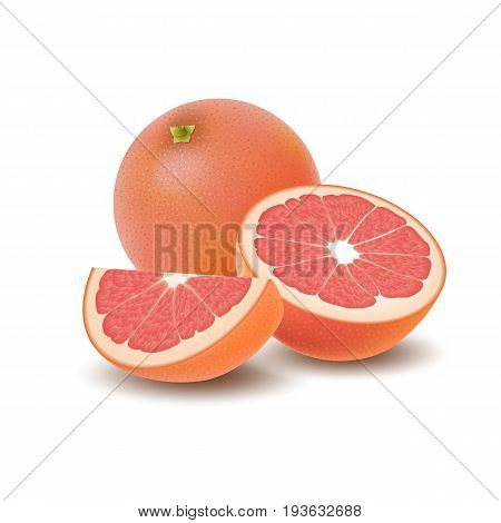 Isolated colored group of grapefruits slice half and whole juicy fruit with shadow on white background. Realistic citrus
