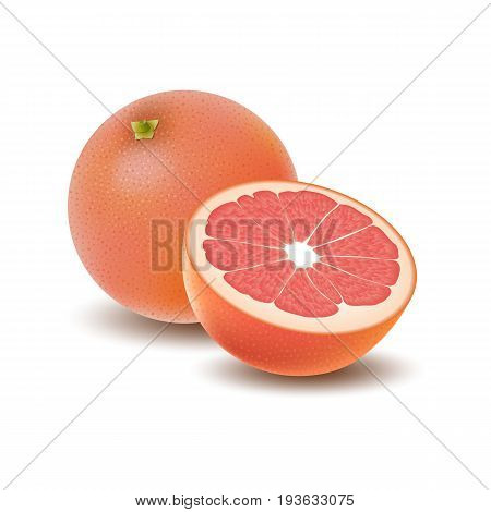 Isolated colored group of grapefruits half and whole juicy fruit with shadow on white background. Realistic citrus