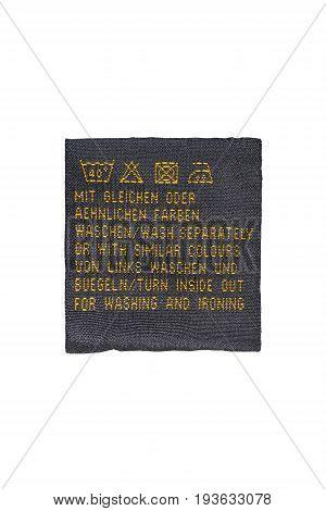 Washing instructions clothes label on white background