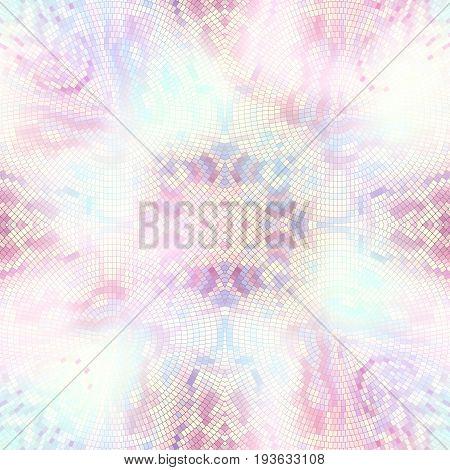 Seamless background pattern. Decorative geometric mosaic art pattern on blur background. Gamma of pastel colors.