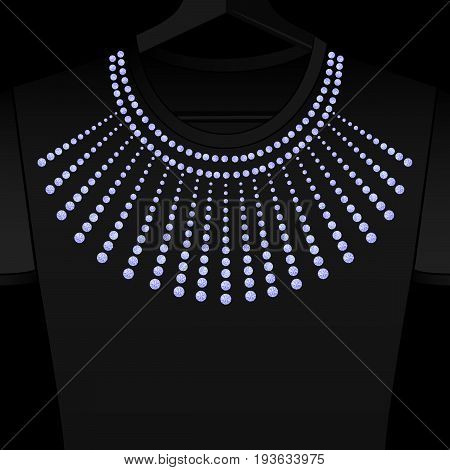 Rhinestones ornament. Transfer iron heat gems. Diamonds or jewelry decor. Embroidery. Rhinestones appligue hot fix for t-shirt. Print on fabric or denin. Fashion trend.